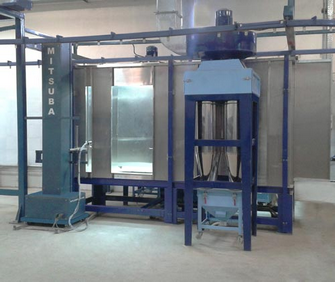 Powder coating spray booth with Rotary cyclone